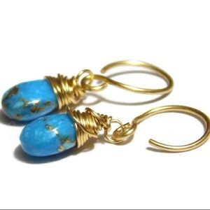 14K Gold Turquoise Wire Wrapped Earrings